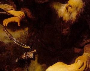 Rembrandt (1635) Sacrificio de Isaac (detalle)